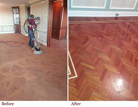 Floor refinishing before and after